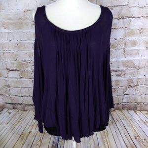 Purple Free People Top Sz XS open shoulder boho